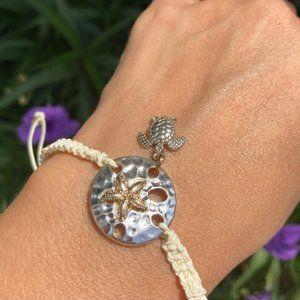 Sand Dollar & Sea Turtle Silver Braided Bracelet